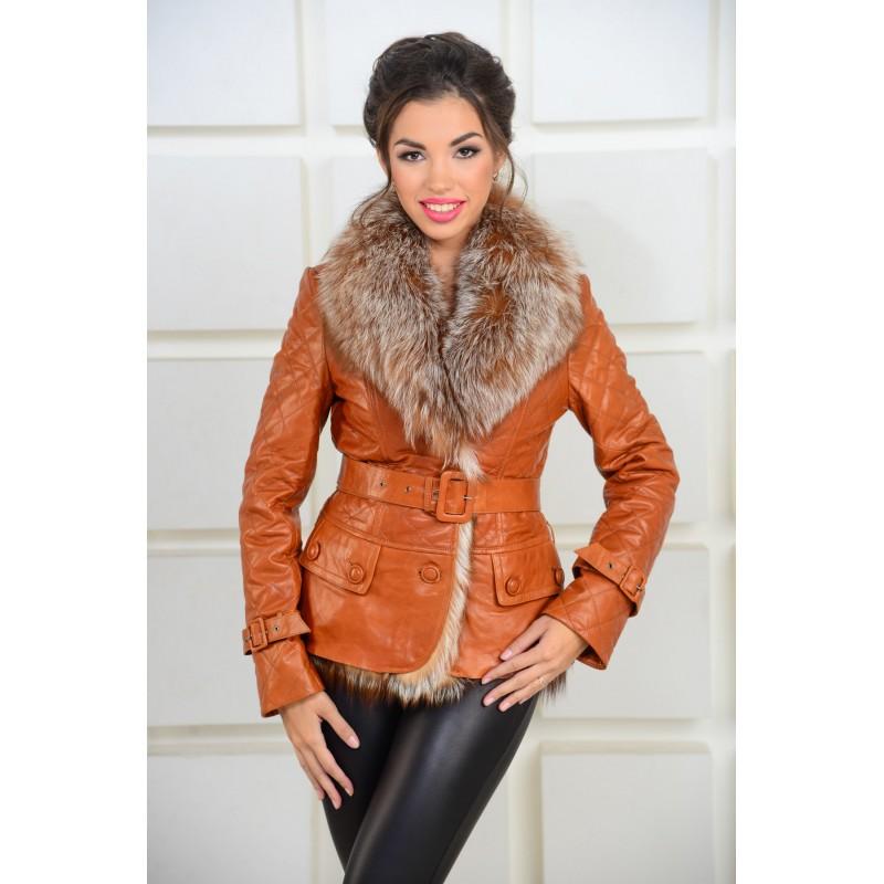 d606b627f26 Яркая кожаная куртка с мехом лисы  арт. AL-4501-R