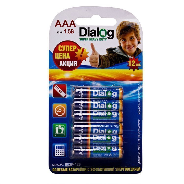 Батарейка AAA Dialog R03P Super Heavy Duty (12-BL)